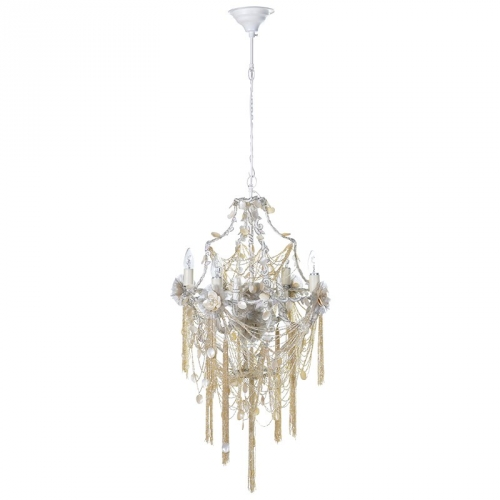 Pearlescent multi tassel chandelier