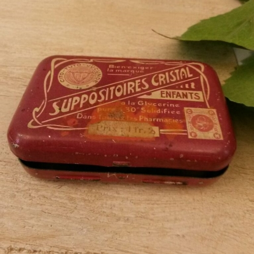Vintage suppositories tin