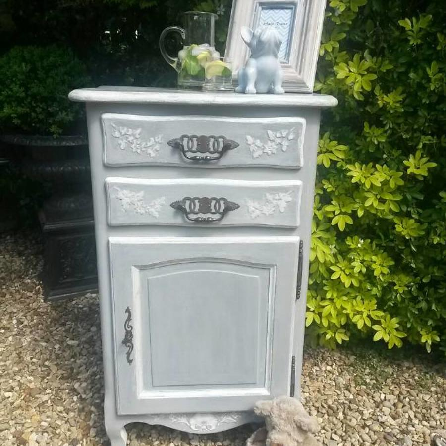 French 2 drawer painted unit