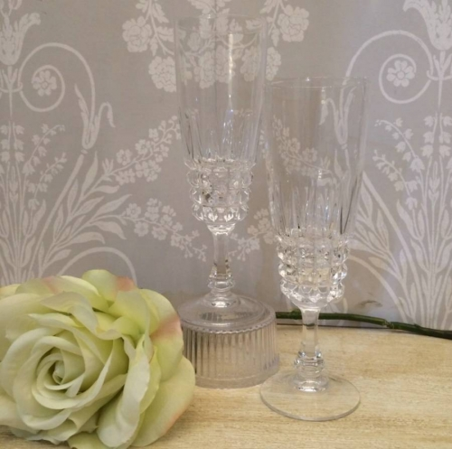 Pair of crystal champagne flutes