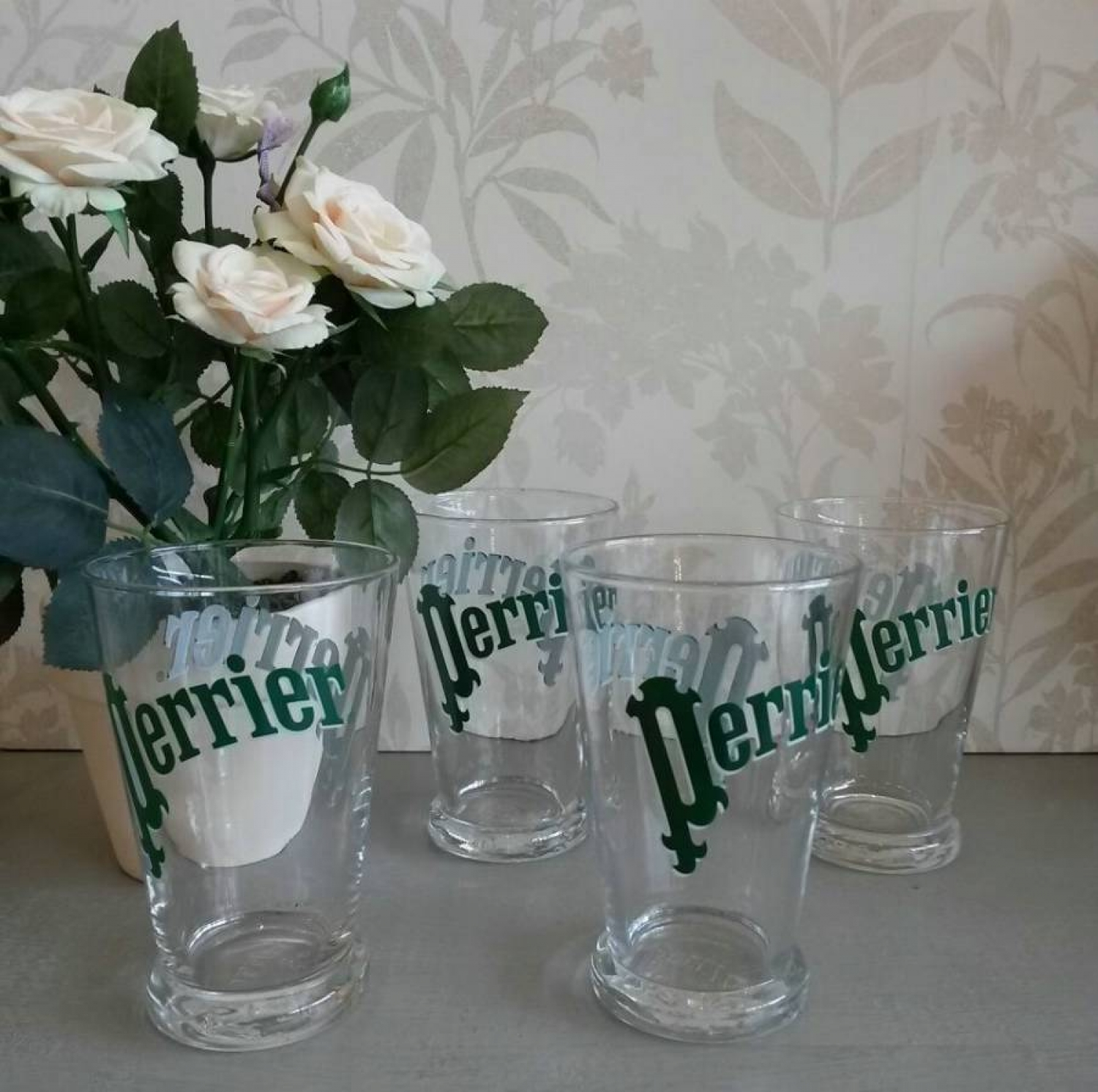 4 Vintage Perrier glasses
