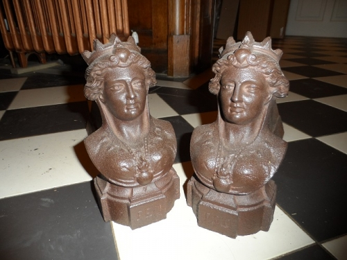 C1900 French cast iron andirons/firedogs