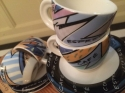 4 colourful espresso cups & saucers - picture 2