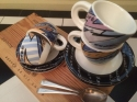 4 colourful espresso cups & saucers - picture 3