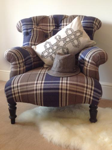 C1900 Blue tartan french armchair