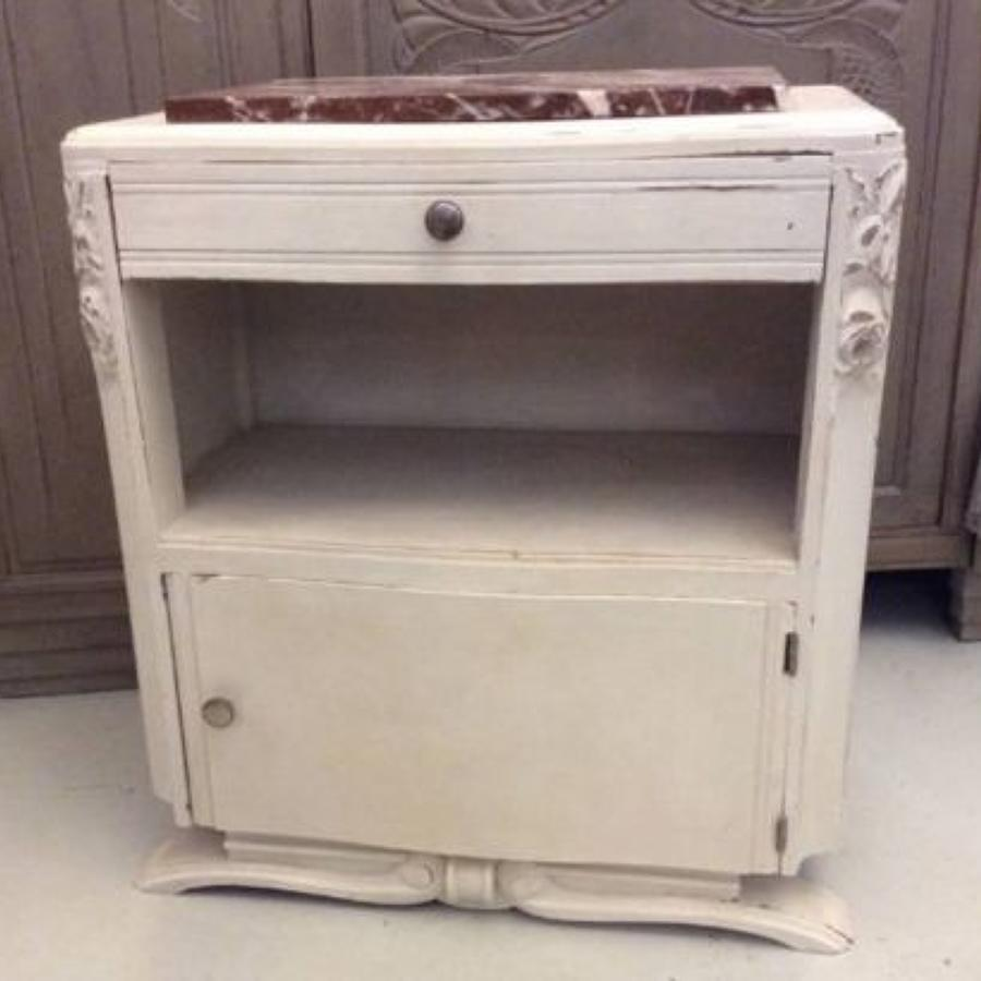 C1930's marble top bedside cabinet