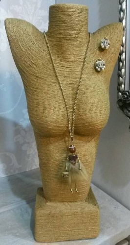 Doll necklace in brown (Crystal earrings priced separately @ £12 )