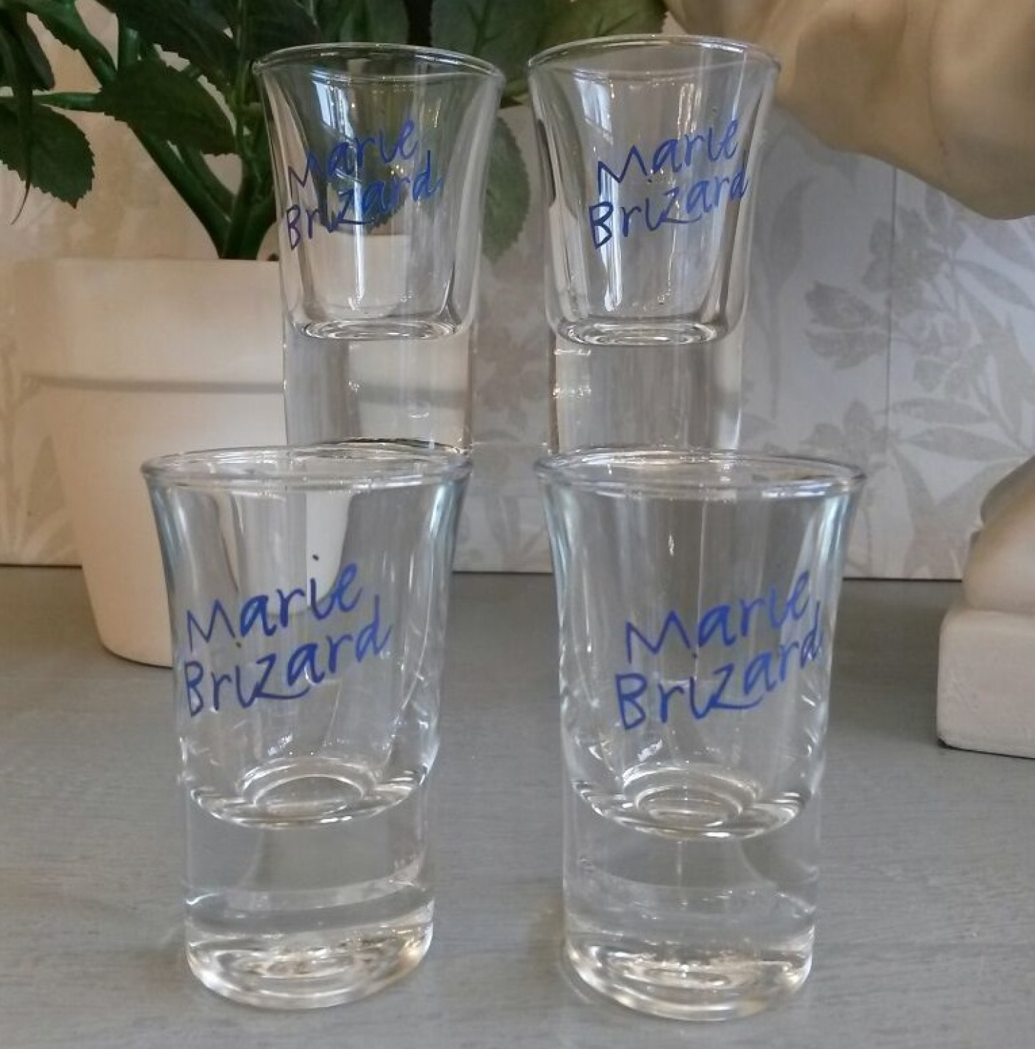 Set of 4 Marie Brizard shot glasses