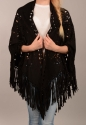 Faux suede cape/scarf with fringing - picture 1