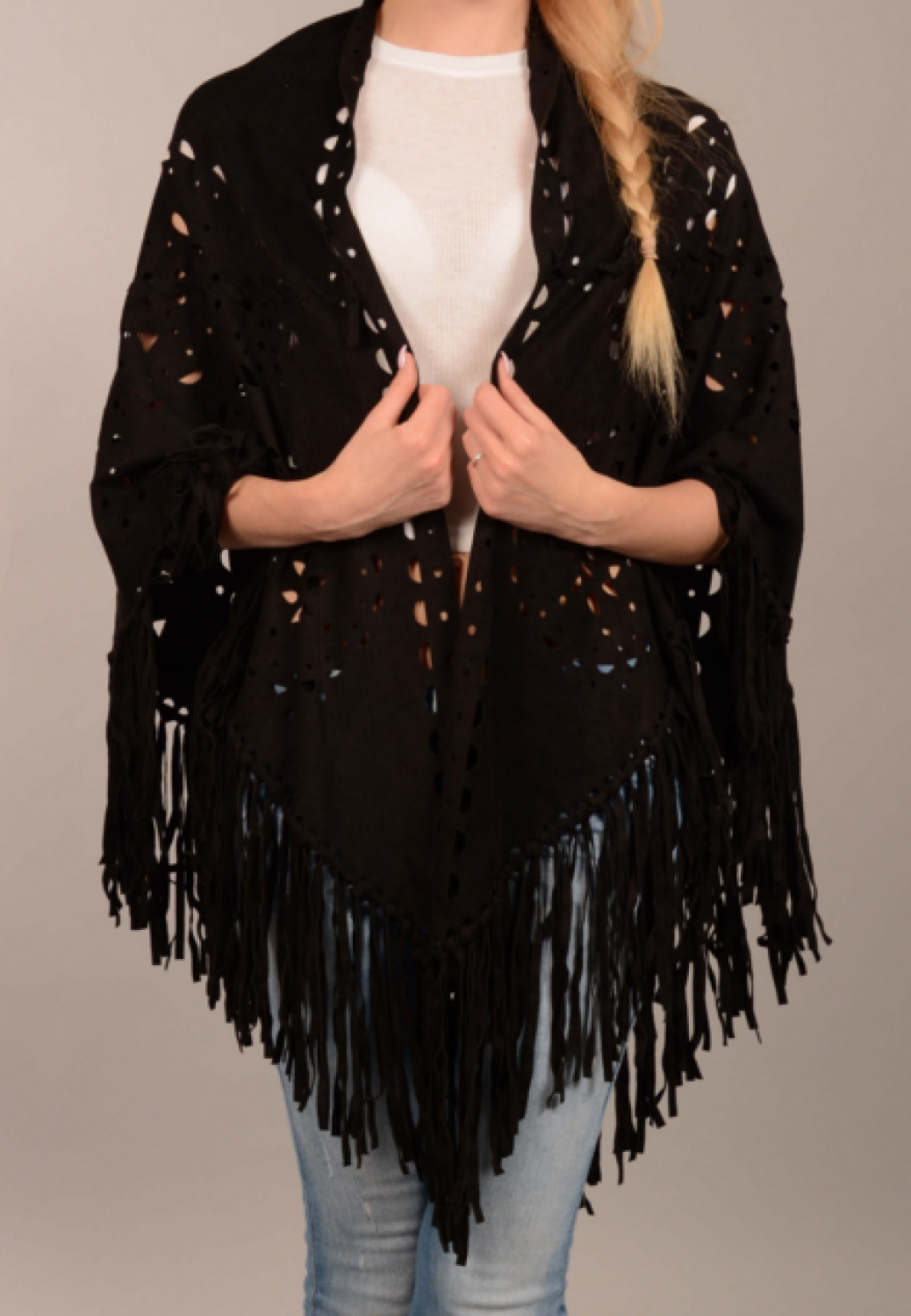 Faux suede cape/scarf with fringing