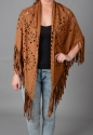 Faux suede cape/scarf with fringing - picture 5