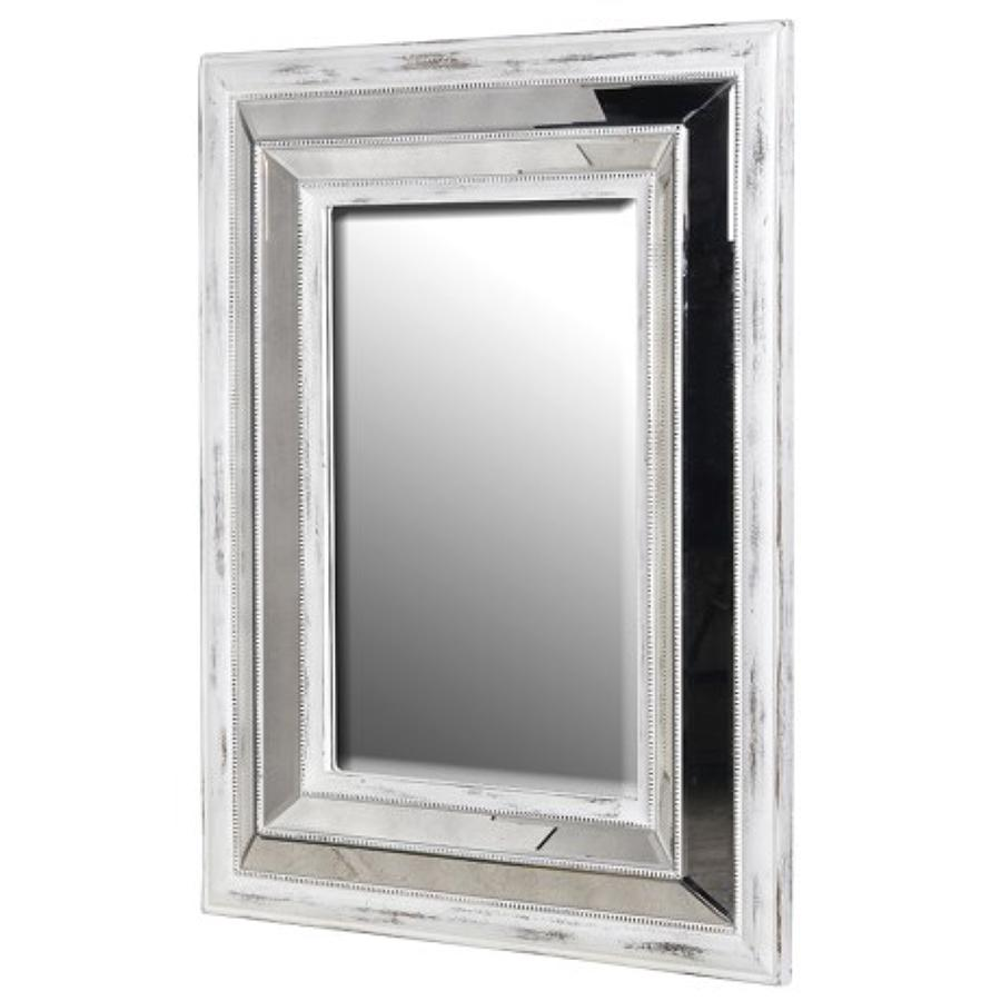 Vintage inspired white distressed mirror