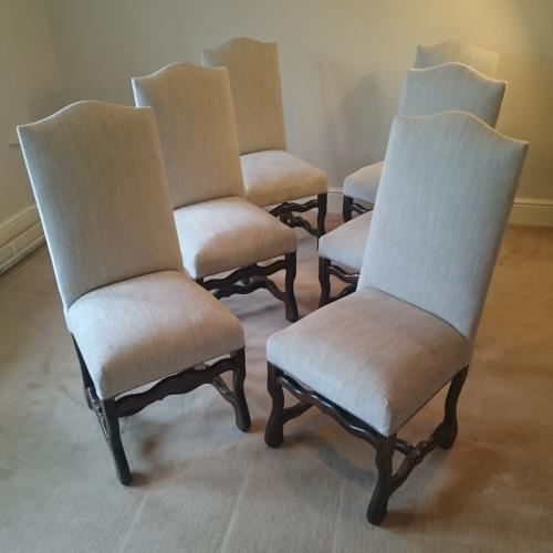 Set of 6 Vintage French reupholstered dining