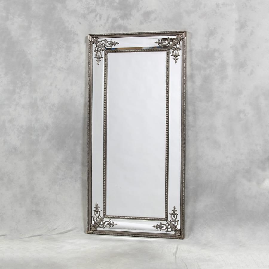 French style ornate silver mirror