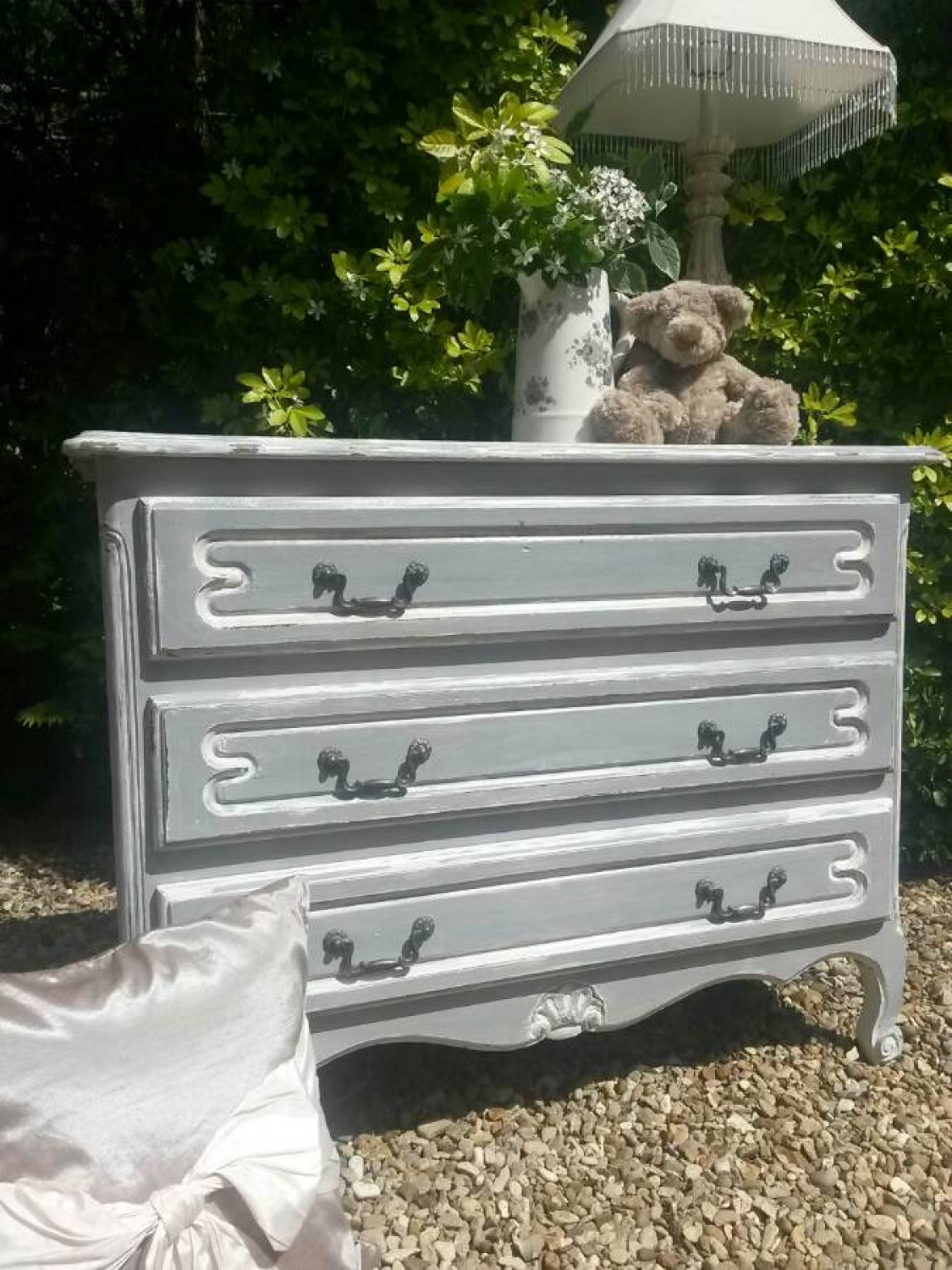 Louis XV Style 3 drawer wooden chest