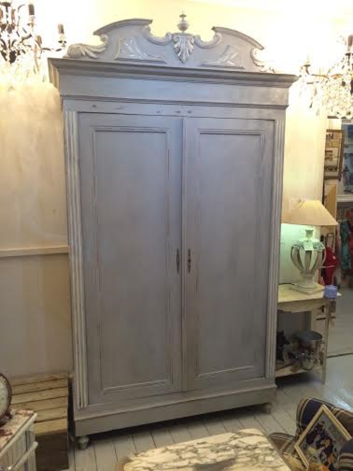 Antique C1900 French painted wardrobe