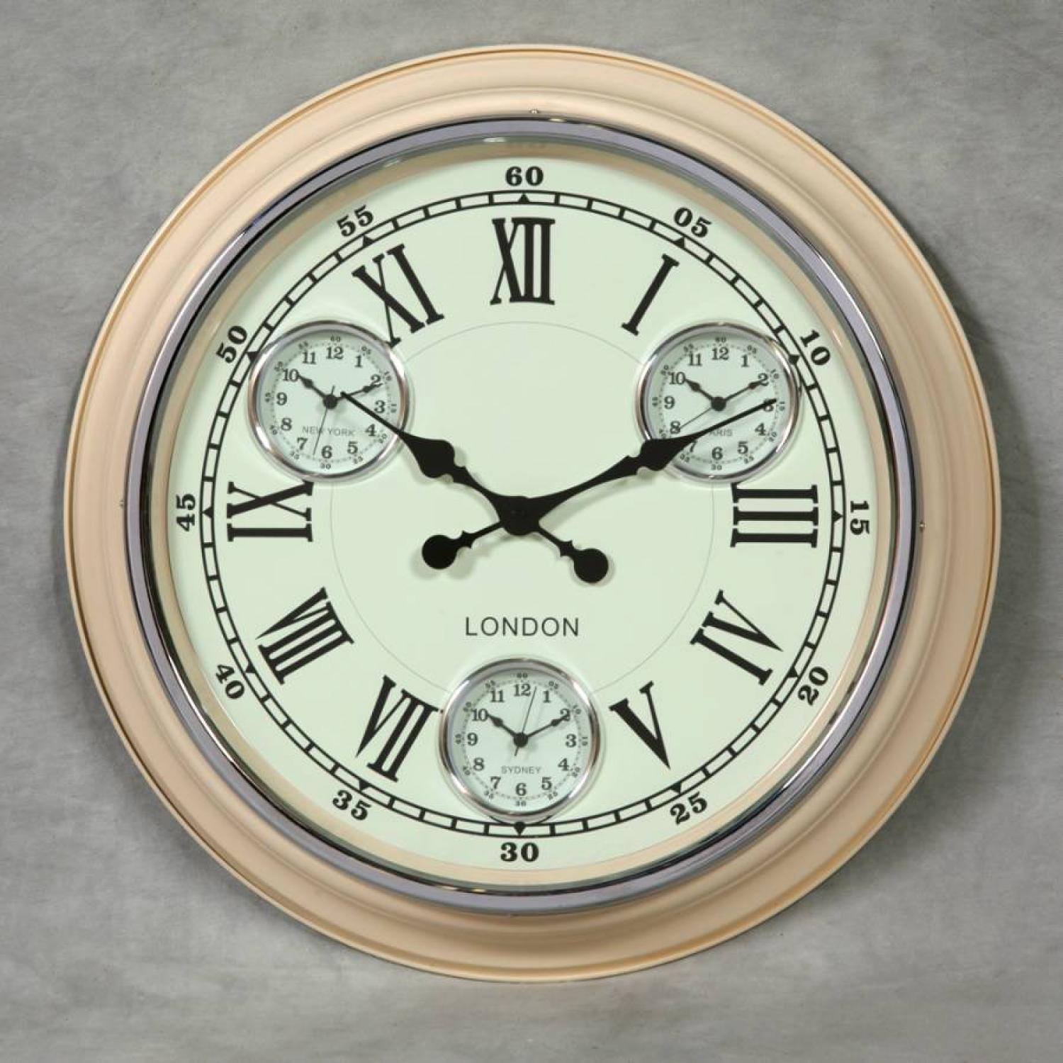 Multi city clock in cream