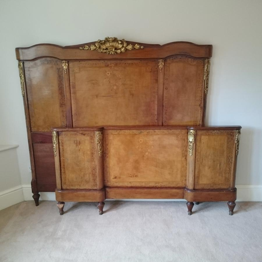 Antique decorative walnut veneer double bed