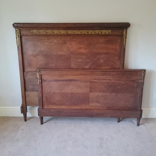 Antique french dark wood double bed