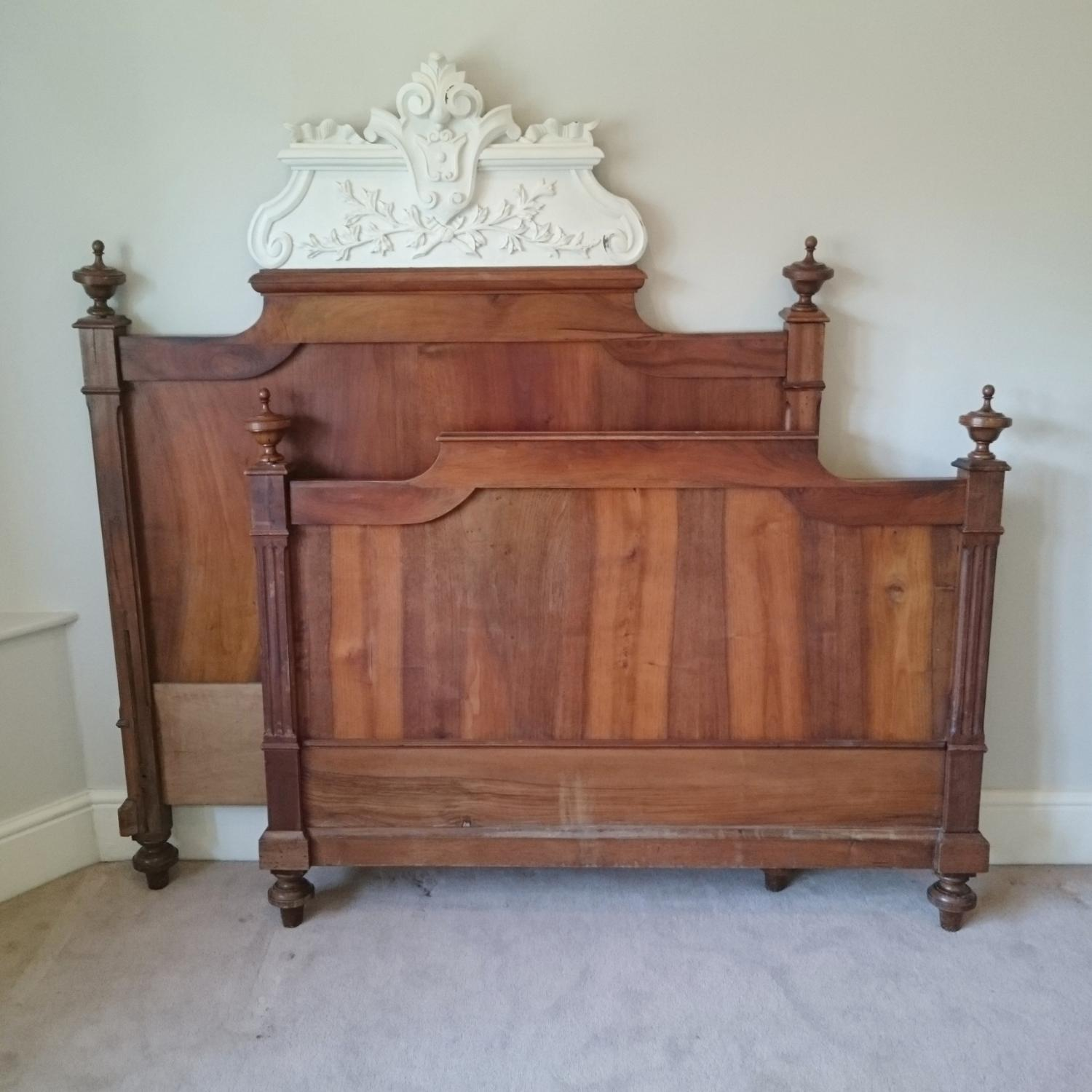 Antique French floral carved double bed