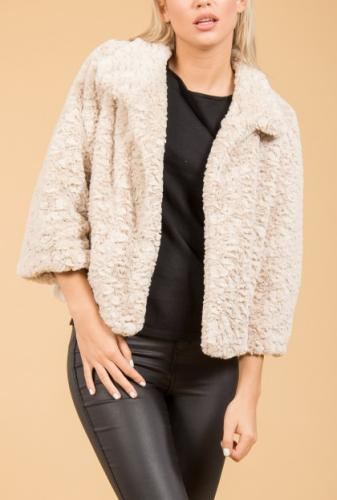 Faux fur jacket - cream