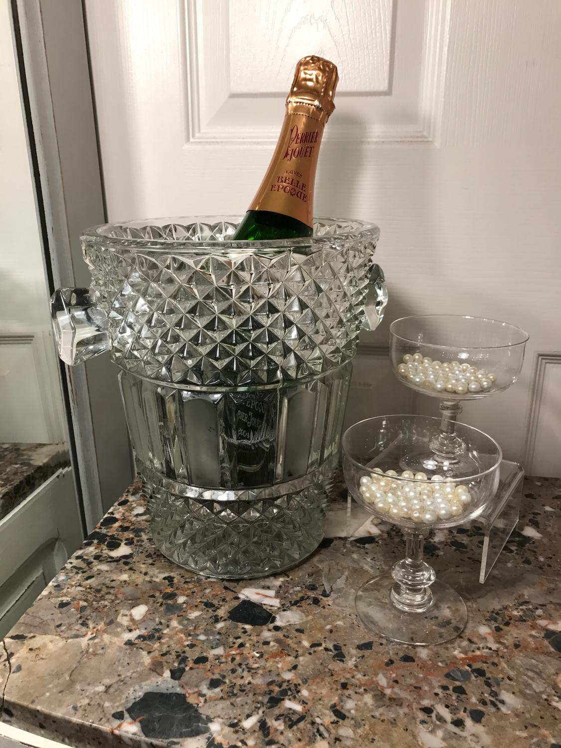 Heavy glass champagne bucket